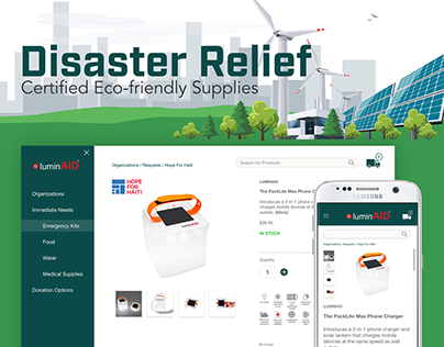 E-Commerce Responsive Disaster Relief Web and Mobile UI