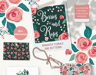 Berries & Roses patterns and floral illustration