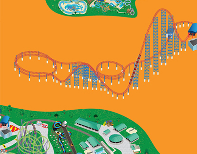 Six Flags Park Maps - Illustration