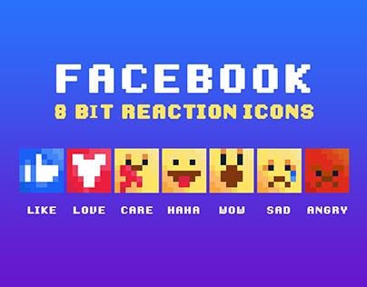 Facebook 8 Bit Reaction Icons