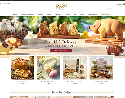 Bettys responsive Magento 2 redesign and UX