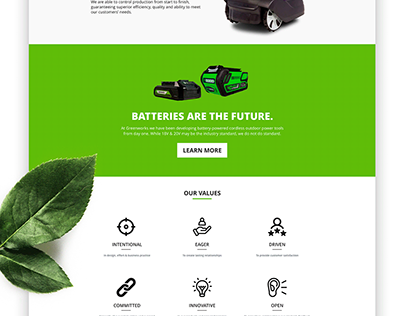 Greenworks Tools About Us Mock-up