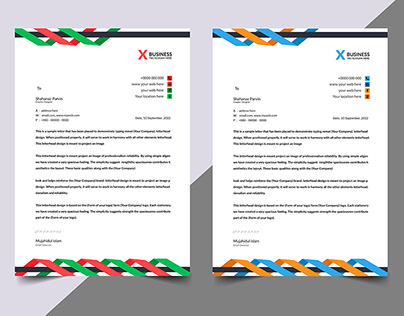 modern abstract colorful letterhead design