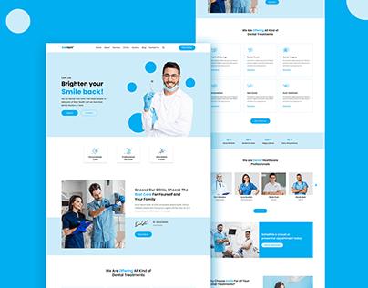 Dentist website template or mockup design