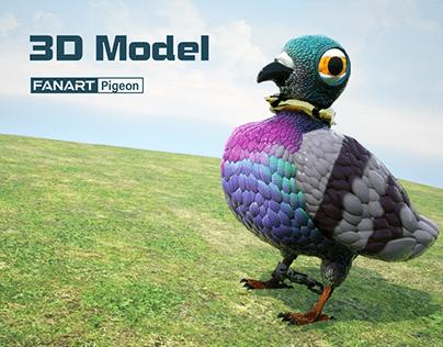 Pigeon character | 3D Model FanArt
