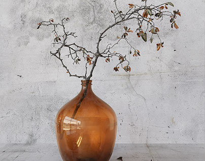 3d model branch in brown bottle.