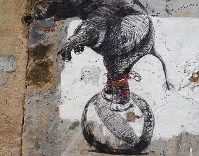 Performing elephant Street art graffiti
