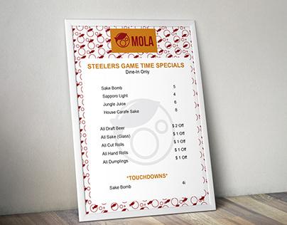 Mola sushi steeler Menu and gift cetificate
