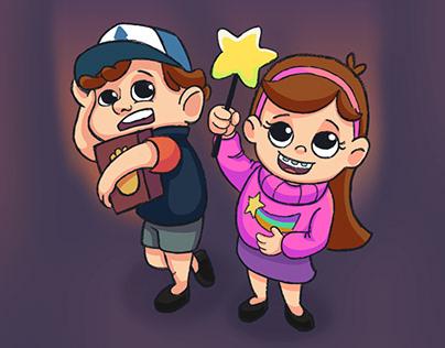 Fun art Dipper and Mabel