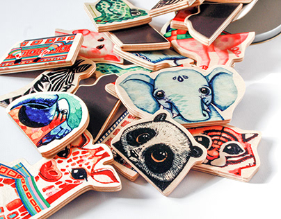 """""""ZOO-benke"""" Wooden toys with magnets."""