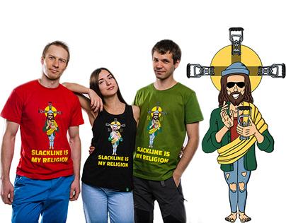 "T-Shirt design ""Slackline is my religion"""