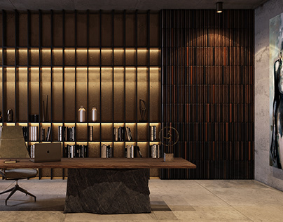 Pontelli wood paneling for the library interior