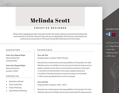 Resume Template Word and InDesign