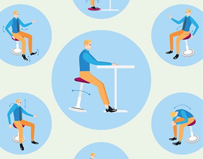 ONGO Active Sitting: illustrations for ad campaign