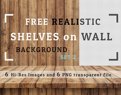 Freebie 6 JPG +6 PNG  Realistic Shelves on Wall  Set 02