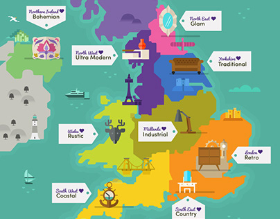 Wayfair - Style by UK region map