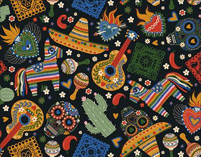 Mexico pattern set. Dia De Los Muertos. Textile design