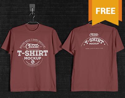 Free T-Shirt Mockup - Round Neck