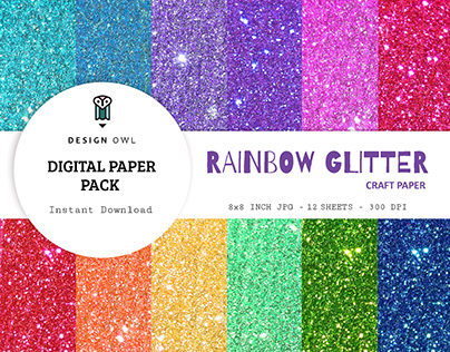 Rainbow glitter digital paper pack