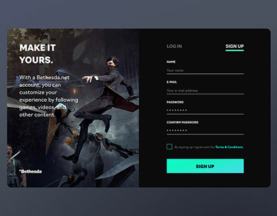 Bethesda Sign Up Page