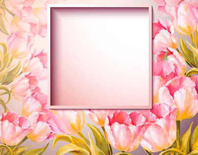 Mixing painting and vector. Flowers and woman. Frames.