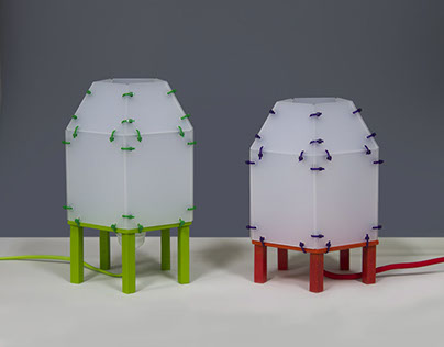 Table lamps, perspex with wooden feet