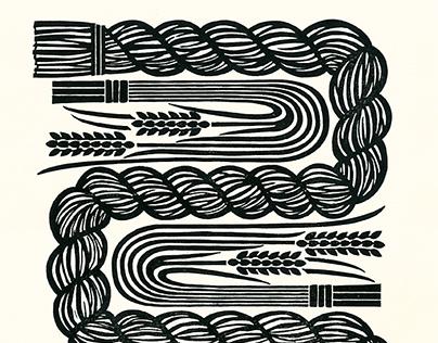 寿稲 木版図画 KOTOBUKI Rice straw