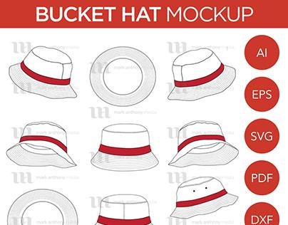 Bucket Hats - Vector Template Mockup
