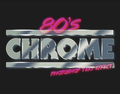 80s Chrome Photoshop Text Effect by Clint English