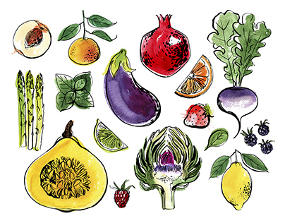 Colored sketch of fruits and vegetables