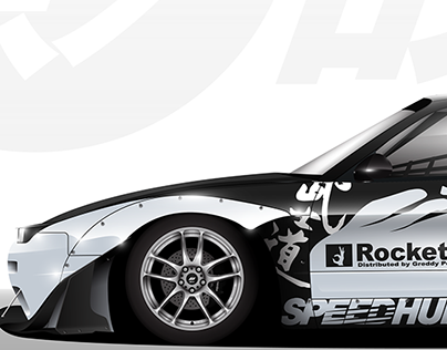 Nissan 180SX drift livery illustration