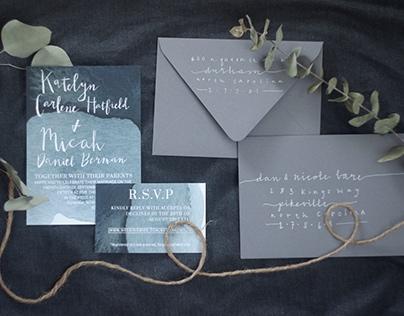 Mood Indigo Wedding Invitation Suite