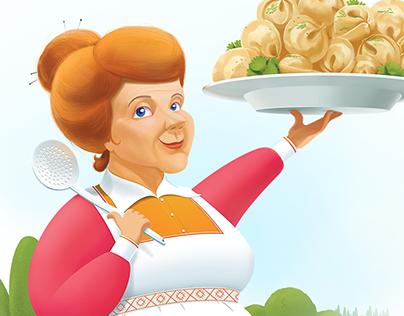 Illustration for packaging of dumplings