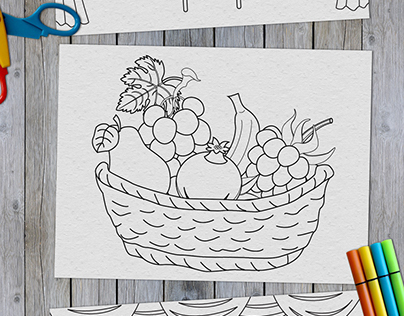 Line drawing for children color book