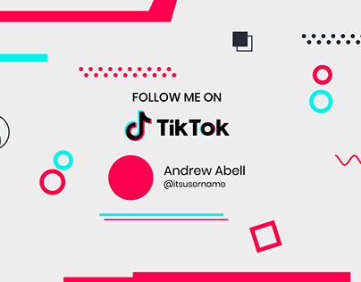 Follow me on tiktok background in memphis design