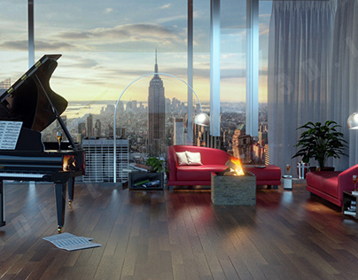 Grand piano setting in living room 3D