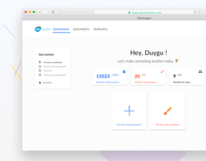 Dashboard for document design and management app
