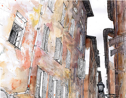 France city Landscapes. Pleinair (Urban sketch).