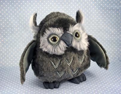 Owls, soft sculptures