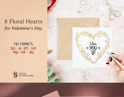 Eight Floral Valentine's Day Hearts - SVG