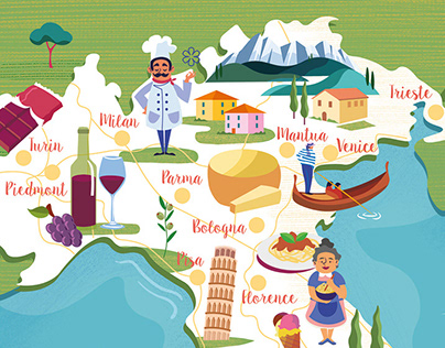 Food and Travel Magazine Italy map