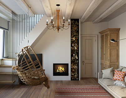 Design of the livingroom in the small cottage