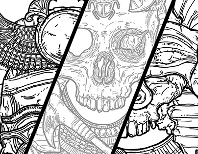 Undead Egyptian Trio - 3 coloring pages
