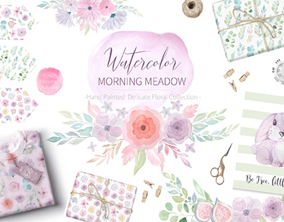Watercolor Morning Meadow Florals and Animals Set