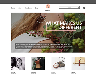 AYANO Online Store Web Design