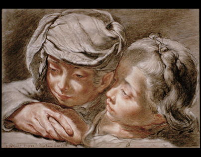 Conté drawing, 1992. Old masterwork reproduction.