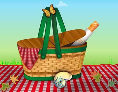 A Baguette In A Picnic Basket
