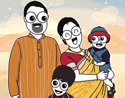 """Family that Laughs Together - Portrait"" Illustration"