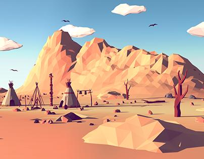 Low Poly Mountain Landscape II