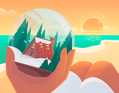 SnowGlobe Animated Illustration for Greeting Card